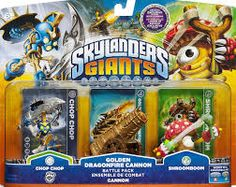 """We already bought the kids the Skylander Giants Starter pack with the pod and 3 guys. But you could get them some extra guys like this one: Skylanders Giants: Battle Pack- Chop Chop, Shroomboom, Dragonfire Cannon - Activision - Toys """"R"""" Us Playstation Games, Xbox Games, Ps3, Toys R Us, Kids Toys, Skylanders Figures, Video Games Xbox, Fire Dragon, The Hard Way"""