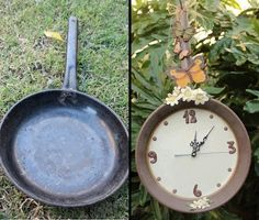Make A Clock From A Cooking Pan wonderfuldiy Wonderful DIY Easy Clock Decoration From Old Cooking Pan Make A Clock, Diy Clock, Clock Ideas, Garden Clocks, Garden Art, Garden Ideas, Old Kitchen, Kitchen Items, Kitchen Utensils