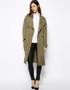 love this olive oversized drape trench from asos
