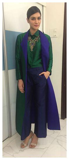 Kriti Sanon in a payakhandwala Dupion Silk Shirt, Trouser and Jacket.