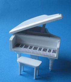 Flügel Piano Klavier Mit Hocker Weiss Puppenhausmöbel Miniatur 1:12