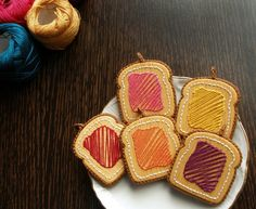 Wooden Embroidered Jewelry - YELLOW TOAST PENDANT - Hand Embroidery on Wood by The Spotless Loop on Etsy, $32.21 CAD