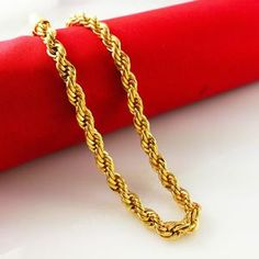 Hot selling ! 2017 New arrived Jewelry vacuum plated 24K gold necklaces,6mm 60cm chain ,new fashion style men jewelry B049