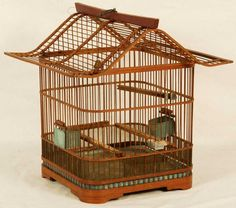 chinese bird cages | Lot 283: Chinese Wooden Bird Cage