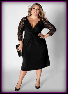 Plus Size Cocktail Dress with Sleeves, black dress with lace sleeves and pleated detail front.It is a simple yet very elegant style Plus Size Cocktail Dresses, Evening Dresses Plus Size, Plus Size Dresses To Wear To A Wedding, Evening Gowns, Evening Party, Dress Skirt, Lace Dress, Dress Up, Knit Dress