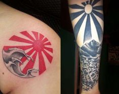 Rising sun tattoos are inspired by a past flag of Japan, with the sun rising as its symbol. The rising sun symbol has also been used on motorsport logos Wave Tattoo Sleeve, Shoulder Sleeve Tattoos, Sleeve Tattoos For Women, Arm Band Tattoo, Sun Tattoo Meaning, Tattoos With Meaning, Tattoo Meanings, Japanese Wave Tattoos, Japanese Sleeve Tattoos
