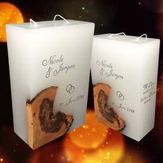 Ich fertige einzigartige Hochzeitskerzen nach individuellen Wünschen an. Ein Unikat für jedes Brautpaar. 100%ige Handarbeit aus Oberösterreich. Sie können nicht nur die Verzierung, sondern auch die Form der Kerze selbst bestimmen, da wir auch die Rohlinge nach Kundenwunsch selbst herstellen. Kerze mit Holz, Mantelkerze, Kerze mit Mineralien, Achat, Meteorit, Hochzeit selbstgemacht Standesamt Kirche Hochzeitsbrauch Geschenk Dekoration Kerze deko Trauung Trauspruch Kerzenshop… Candle Jars, Candles, Form, Diy, Embellishments, Dekoration, Candle Decorations, Newlyweds, Minerals