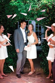 10 Non-Traditional Wedding Send-Off Ideas : Have your guests throw pink paper pl. 10 Non-Traditional Wedding Send-Off Ideas : Have your guests throw pink paper planes instead of rice. Wedding Ceremony Ideas, Wedding Exits, Wedding Reception, Dream Wedding, Wedding Ceremonies, Wedding Send Off, Wedding Bells, Wedding Shot, Southern Weddings