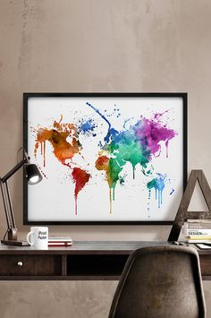 Map poster watercolor painting by watercolorprint on etsy cool watercolor world map watercolour print world map poster travel map watercolor painting large map wall art home decor iprintposter gumiabroncs Image collections