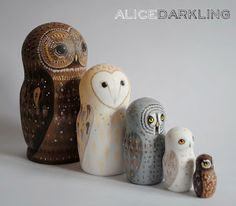 Alice Darkling: More owl nesting dolls! (russian / matryoshka / stacking dolls)
