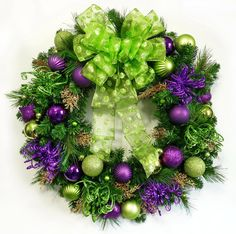 Christmas Wreath of Purple and Lime Wreaths for by Floralwoods, $58.00