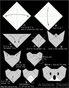 Koala(face) - Easy Origami instructions For Kids