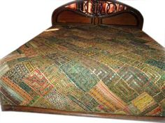 """India Bedding Bed Cover Throw Bedspreads Kutch Tribal Embroidery Antique Coverlet Wall Hanging 80""""x80"""" by Mogul Interior, http://www.amazon.com/dp/B00CE35AVU/ref=cm_sw_r_pi_dp_ScGDrb0XRM45N"""
