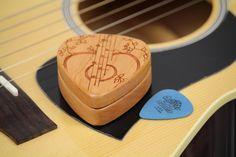 Guitar Pick Box, Pattern G38, Solid Cherrywood, Laser Engraved, Paul Szewc http://etsy.me/20mgDVE