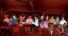 Disney princes hanging out (I like that they use actual shots from the films)