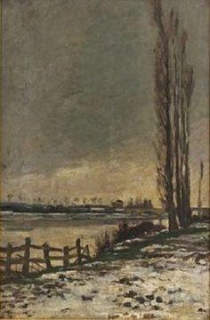 Charles-François Daubigny - Berge aux peupliers en hiver