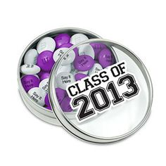 Personalized Class of 2013 Party Favors: Silver Party Favor Tins filled with Personalized M'S® Chocolate Candies