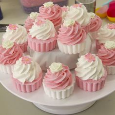 Bubble Bath Cupcakes. I like the soft pink color used.