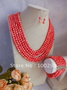 Free ship!!!Fashion African Wedding Coral Jewelry Set Coral Necklace Bracelet Earring Set $70.31
