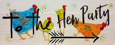 5.5 x 21 Funky Chicken Folk art Chicken sign by cackleblossums