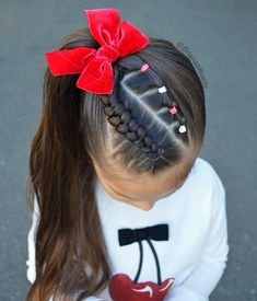 Rubberband braid and a Dutch infinity braid into a high pony Side Ponytail Hairstyles, Dance Hairstyles, Kids Braided Hairstyles, Braids Into Ponytail, Mixed Baby Hairstyles, Cute Little Girl Hairstyles, Bolo Minnie, Competition Hair, Girl Hair Dos