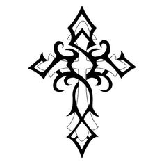 Black Tribal And Outline Cross Tattoo Design Tribal Cross Tattoos, Celtic Cross Tattoos, Cross Tattoo Designs, Tattoo Design Drawings, Cross Tattoo For Men, Tattoo Son, Et Tattoo, Tattoo Kits, Back Tattoo