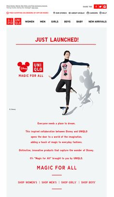 Just launched! MAGIC FOR ALL UNIQLO and Disney collection | newsletter | fashion email | fashion design | email | email marketing | email inspiration | e-mail