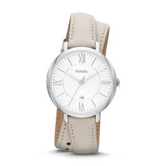 Fossil Jacqueline Three-Hand Date Leather Watch - White ES3548 | FOSSIL®