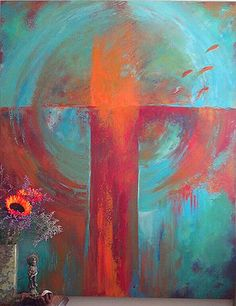 """Turquoise is layered like patina onto a textured surface with 5 fish jumping out of an abstract bowl. 48"""" x 60"""" acrylic on canvas"""