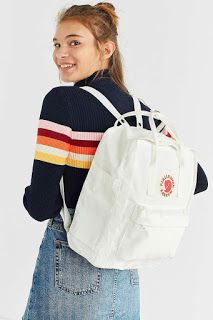 Urban Outfitters Trendy White Fjallraven X UO Kanken Backpack - Christmas-Desserts Mochila Kanken, Kanken Backpack, Addidas Backpack, Cute Backpacks For School, Trendy Backpacks, Womens Fashion Online, Latest Fashion For Women, Waist Purse, Accessoires Iphone