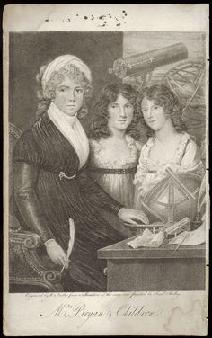 Mrs Bryan and her daughters, frontispiece to Bryan's A Compendious System of Astronomy (1797)