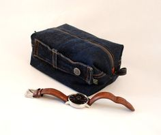 8b608b5d452b Items similar to Upcycled denim dopp kit. Men s shaving kit on Etsy