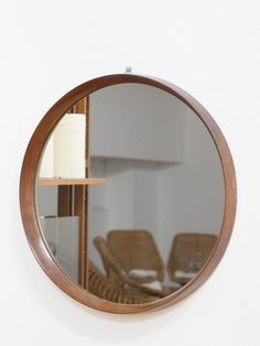 Specchio tondo cornice in legno anni'50