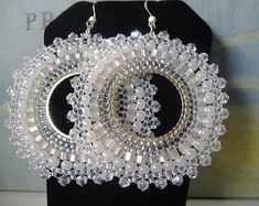 Beadwork Hoop Earrings Crystal Goddess Seed Bead Hoop Earrings Statement Jewelry by WorkofHeart on Etsy Seed Bead Jewelry, Bead Jewellery, Seed Bead Earrings, Beaded Earrings, Beaded Jewelry, Seed Beads, Hoop Earrings, Statement Jewelry, Wedding Earrings
