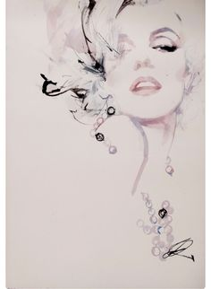 Portrait Drawings and Watercolors at - David Downton – Marilyn Monroe Zeichnung Marilyn Monroe, Marilyn Monroe Kunst, Marilyn Monroe Tattoo, Marilyn Monroe Artwork, Marilyn Monroe Drawing, Gif Kunst, Arte Fashion, Fashion Fashion, Fashion Design