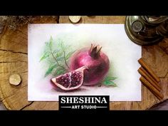 How to draw a pomegranate with soft pastels  Speed Painting - YouTube