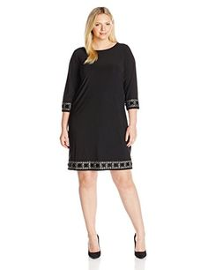 Tiana B Womens PlusSize 34 Sleeve Embellished Cuff and Trim Dress Black 16 * More info could be found at the image url.