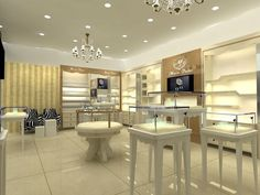 white and gold retail interior - Google Search