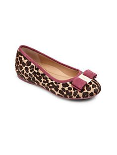Salvatore Ferragamo - Kid's Varina Mini Leopard Calf Hair Ballet Flats