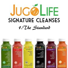 "Just incase you haven't tried our juice cleanse yet. This is the standard cleanse we usually recommend people to start off with.  We always heard its good to ""eat the different colors of the rainbow"" but honestly... How easy is it to do that?  So that is what we comprised our standard cleanse to be.  Post to follow to show why."
