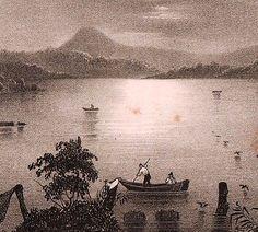 Lithographie-XIXe-Lac-de-Paladru-Isere-Lac-Bleu-1835