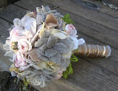 Vintage beaded flowers from France made into a bouquet by Tricia Fountaine