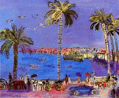 Raoul Dufy (3 June 1877 – 23 March 1953) was a French Fauvist painter. He developed a colorful, decorative style that became fashionable for designs of ceramics and textiles, as well as decorative schemes for public buildings. He is noted for scenes of open-air social events. He was also a draftsman, printmaker, book illustrator, a theatrical set-dresser, a designer of furniture, and a planner of public spaces.