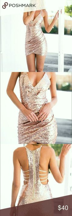 Gold Sequin Dress with Cut-out Back - Miladies.net