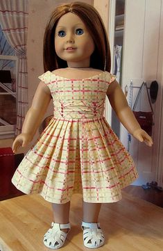 1950's Summer Frock with Ruching- Made to Fit AG Doll Emily or Molly