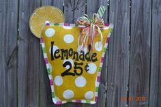 LEMONADE Burlap Door Hanger by monkeylynnedesigns on Etsy, $38.00