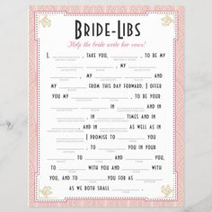 Art Deco Style Bride Libs Game