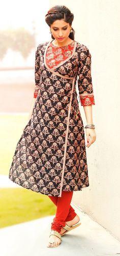 Latest Angrakha Style Dress Designs For Women 2019 Salwar Designs, Kurti Neck Designs, Dress Neck Designs, Kurta Designs Women, Kurti Designs Party Wear, Blouse Designs, Chudidhar Designs, Pakistani Dresses, Indian Dresses