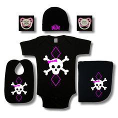 Skull Diaper Bags For Girls   argyle girl skull baby gift set girls argyle skull baby gift