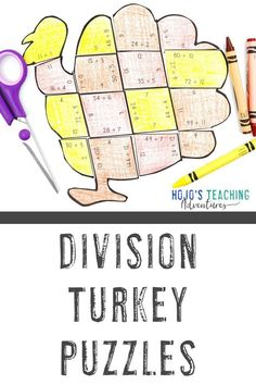 These DIVISION turkey math activities for kids are great for 3rd, 4th, Thanksgiving Math Worksheets, Math Activities For Kids, Fifth Grade Math, 5th Grade Classroom, Early Finishers, Fast Finishers, Basic Math, Upper Elementary, Math Centers